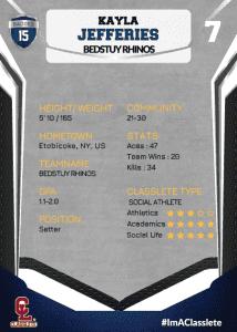 Jersey Dark Blue Classlete Sports Card Back Female Volleyball Player