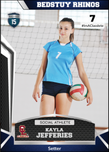 Jersey Dark Blue Sports Card Front Female Volleyball Player