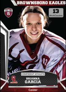Jersey Dark Red Classlete Sports Card Front Female Hockey Player