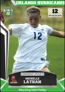 Jersey Light Green Classlete Sports Card Front Female Soccer Player