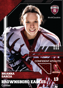 Levels Dark Red Classlete Sports Card Front Female Hockey Player