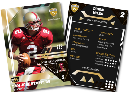 Levels Gold Classlete Sports Card Front Back Male Football Quarterback