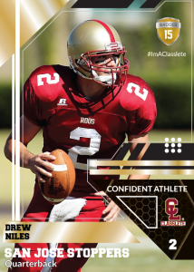 Levels Gold Classlete Sports Card Front Male Football Quarterback