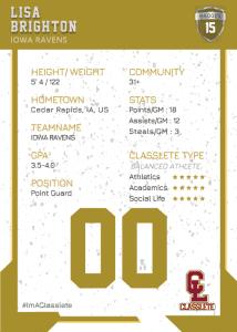 Maverick Bronze Classlete Sports Card Back Female Basketball Player