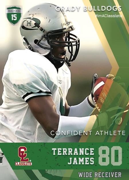Maverick Dark Green Classlete Sports Card Front Male Black Football Receiver