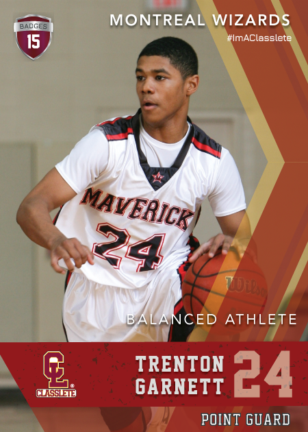 Maverick Dark Red Classlete Sports Card Front Male Black Basketball Player