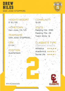 Maverick Gold Classlete Sports Card Back Male Football Player