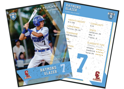 Maverick Light Blue Classlete Sports Card Front Back Male Baseball Player