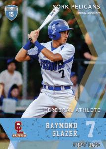 Maverick Light Blue Classete Sports Card Front Male Baseball Player