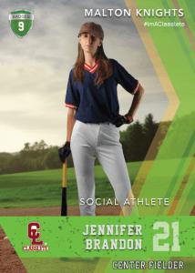 Maverick Light Green Classlete Sports Card Front Female Baseball Player
