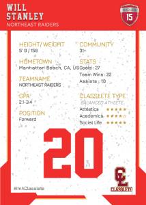 Maverick Light Red Classlete Sports Card Back White Male Soccer Player