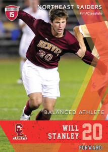 Maverick Light Red Classlete Sports Card Front Male White Soccer Player