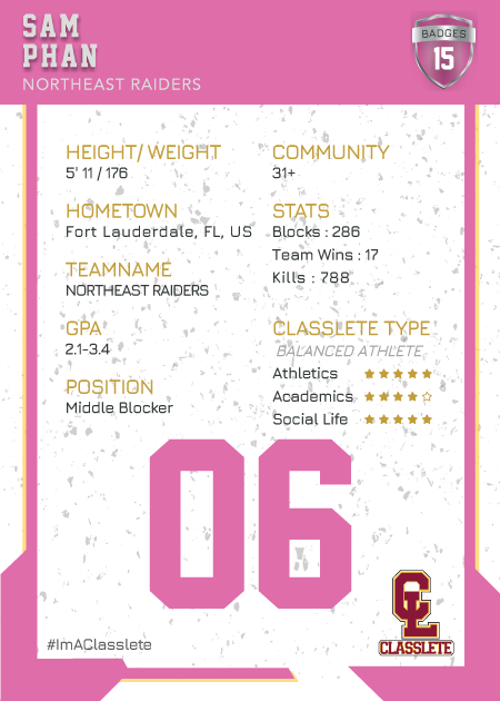 Maverick Pink Classlete Sports Card Back Male Volleyball Player