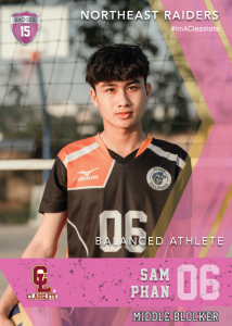 Maverick Pink Classlete Sports Card Front Male Volleyball Player