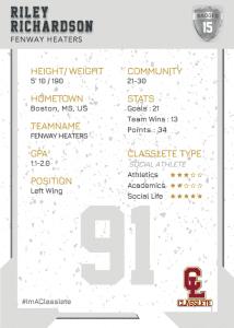 Maverick Silver Classlete Sports Card Back Male Hockey Player