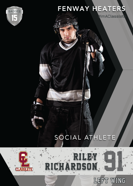 Maverick Silver Classlete Sports Card Front Male Hockey Player