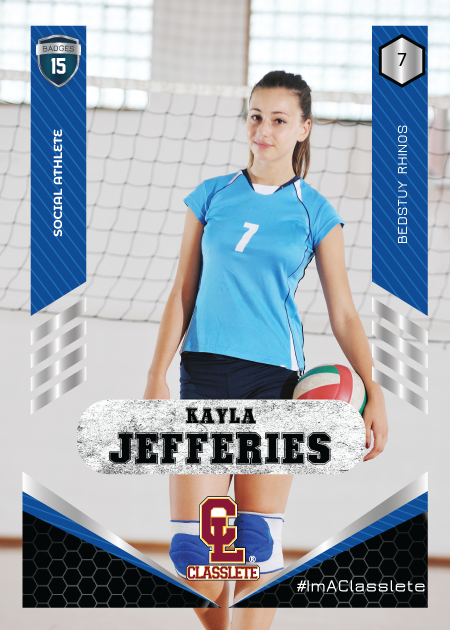 Revolt Dark Blue Sports Card Front Female Volleyball Player