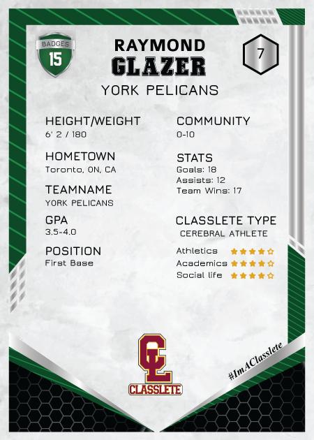 Revolt Dark Green Classlete Sports Card Back Male Baseball Player
