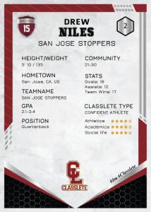 Revolt Dark Red Classlete Sports Card Back Male Football Quarterback