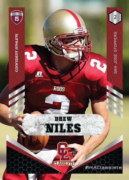 Revolt Dark Red Classlete Sports Card Front Male Football Quarterback
