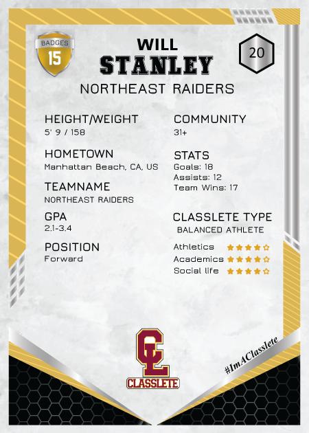 Revolt Gold Classlete Sports Card Back Male White Soccer Player