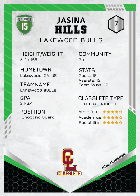 Revotl Light Green Classlete Sports Card Back Female White Basketball Player