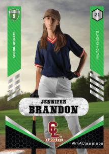 Revolt Light Green Classlete Sports Card Front Female Baseball Player