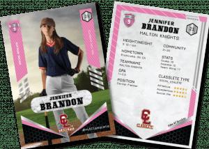 Revolt Pink Classlete Sports Card Front Back Female Baseball Player