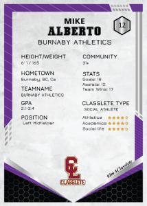 Revolt Purple Classlete Sports Card Back Male Soccer Player