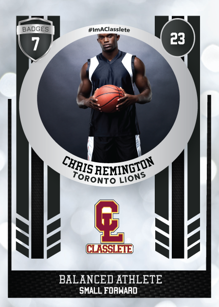 Spotlight Black Classlete Sports Card Front Male Basketball Player