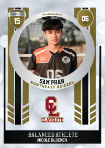 Spotlight Bronze Classlete Sports Card Front Male Volleyball Player