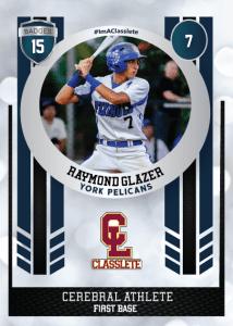 Spotlight Dark Blue Classete Sports Card Front Male Baseball Player