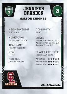 Spotlight Dark Green Classlete Sports Card Back Female Baseball Player
