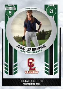 Spotlight Dark Green Classlete Sports Card Front Female Baseball Player