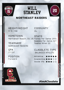 Spotlight Dark Red Classlete Sports Card Back Male White Soccer Player
