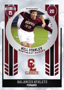 Spotlight Dark Red Classlete Sports Card Front Male White Soccer Player
