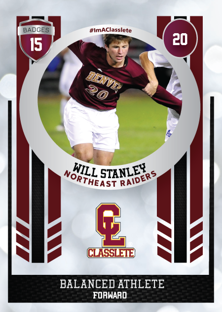 Spotlight Dark Red Classlete Sports Card Front Male White Soccer Player
