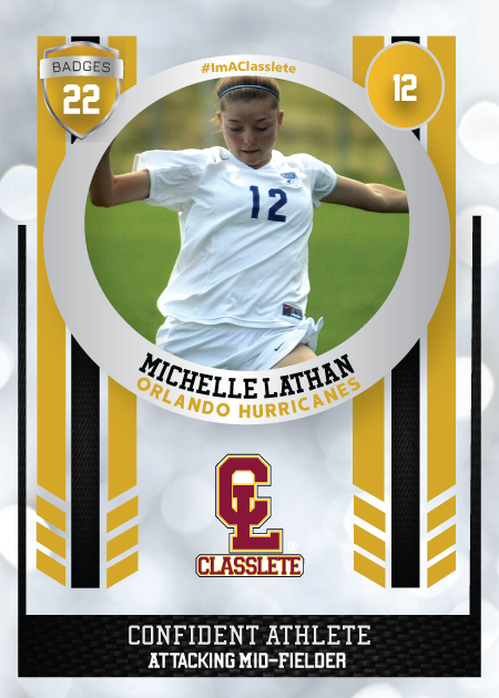 Spotlight Gold Classlete Sports Card Front Female Soccer Player