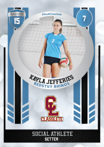 Spotlight Light Blue Sports Card Front Female Volleyball Player