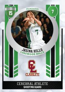 Spotlight Light Green Classlete Sports Card Front Female White Basketball Player