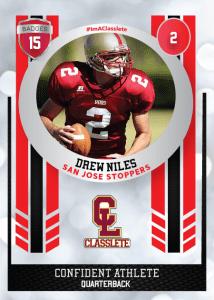 Spotlight Light Red Classlete Sports Card Front Male Football Quarterback