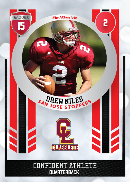 Spotlight Light Red Classlete Sports Card Front Male Football Quarterback