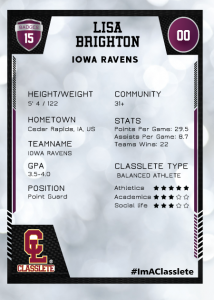 Spotlight Purple Classlete Sports Card Back Female Basketball Player