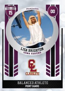 Spotlight Purple Classlete Sports Card Front Female Basketball Player