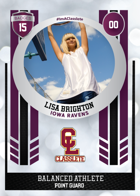 Spotlight Purple Classlete Sports Card Front Female Basketball Player
