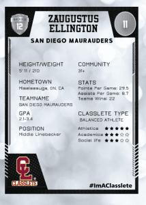 Spotlight Silver Classlete Sports Card Back Male Football Player