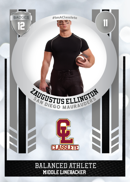 Spotlight Silver Classlete Sports Card Front Male Football Player