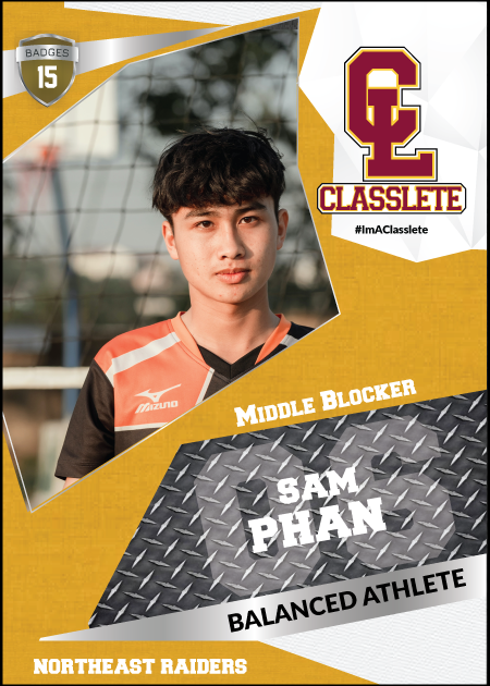 Transformer Bronze Classlete Sports Card Front Male Volleyball Player