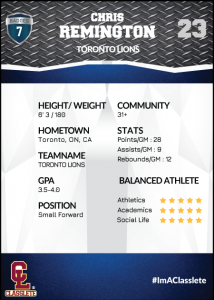 Transformer Dark Blue Classlete Sports Card Back Male Basketball Player