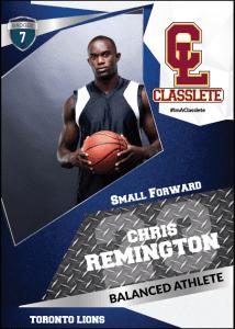Transformer Dark Blue Classlete Sports Card Front Male Basketball Player